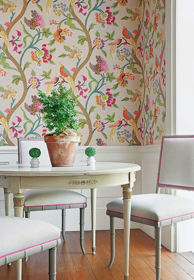 dining room wallpaper designs | Wallpaper is cool again - Karen Fron Interior Design | Calgary