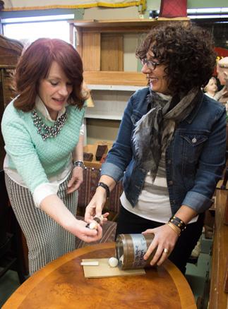 Debra and Karen evaluating design samples