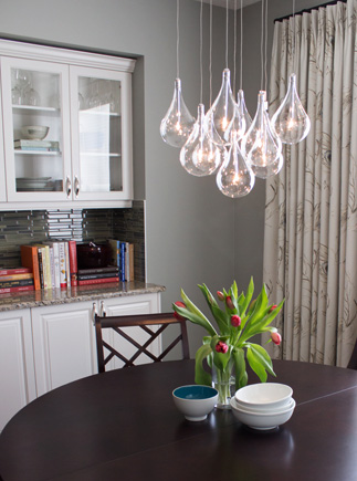 Round Kitchen Table with Bulb Chandelier