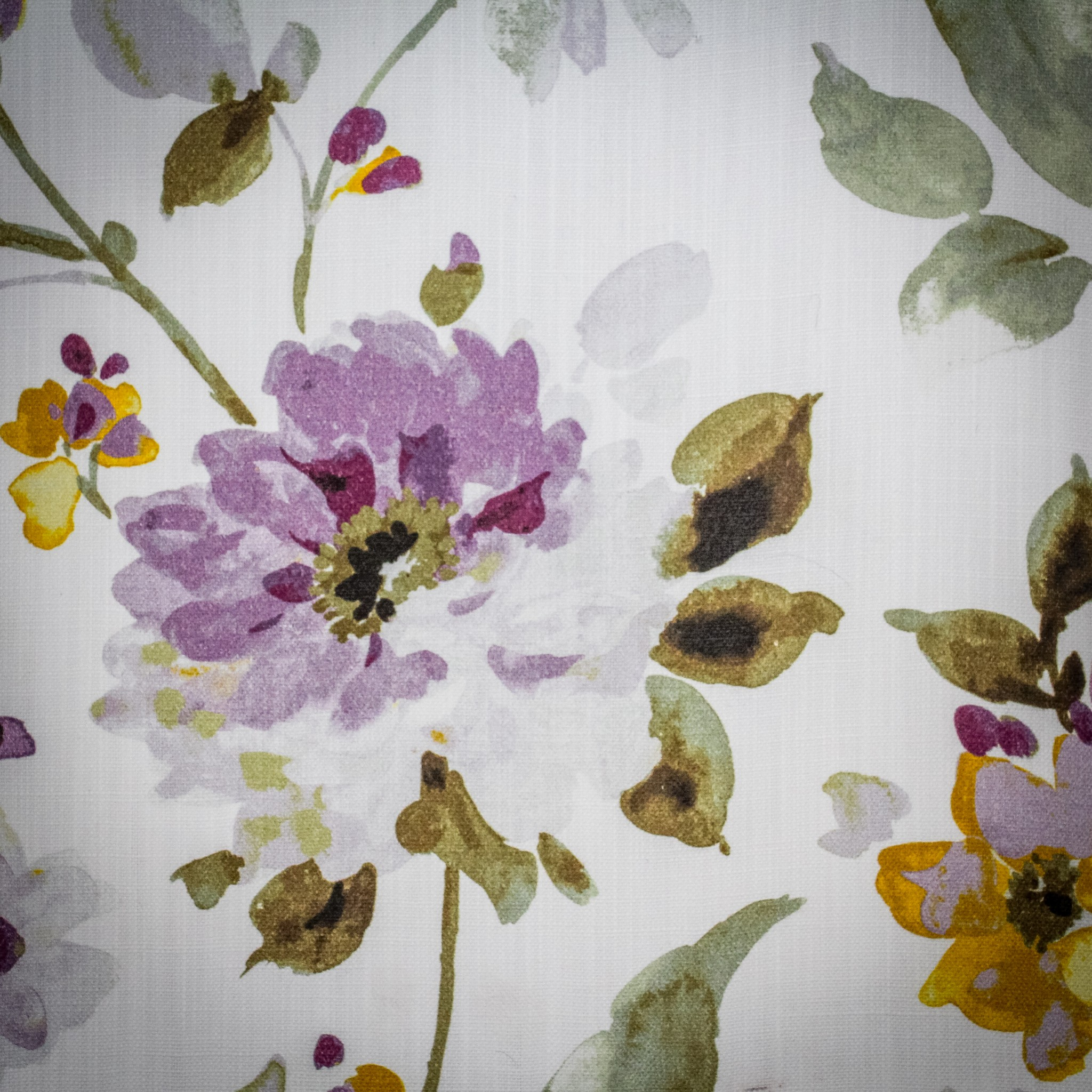 Watercolour fabric with purple and yellow flowers