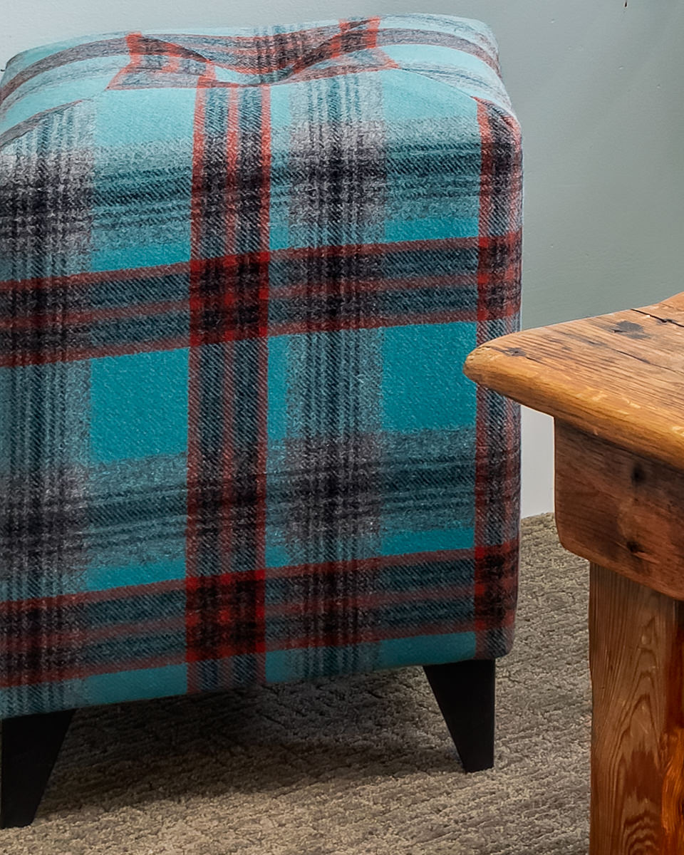 custom stool with fun plaid fabric by Kirkby