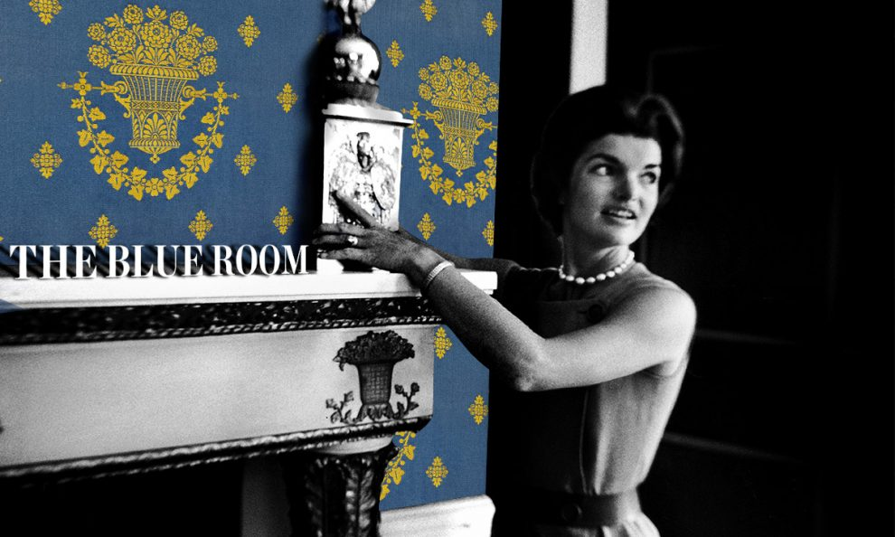 Jackie Kennedy shows off the classic Schumacher Lampas wallpaper in her 1962 tour of the newly renovated White House
