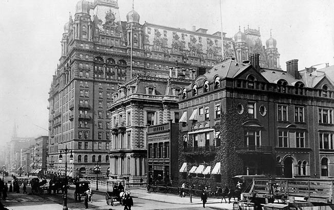 1899 view of the iconic Waldorf Astoria hotel in New York