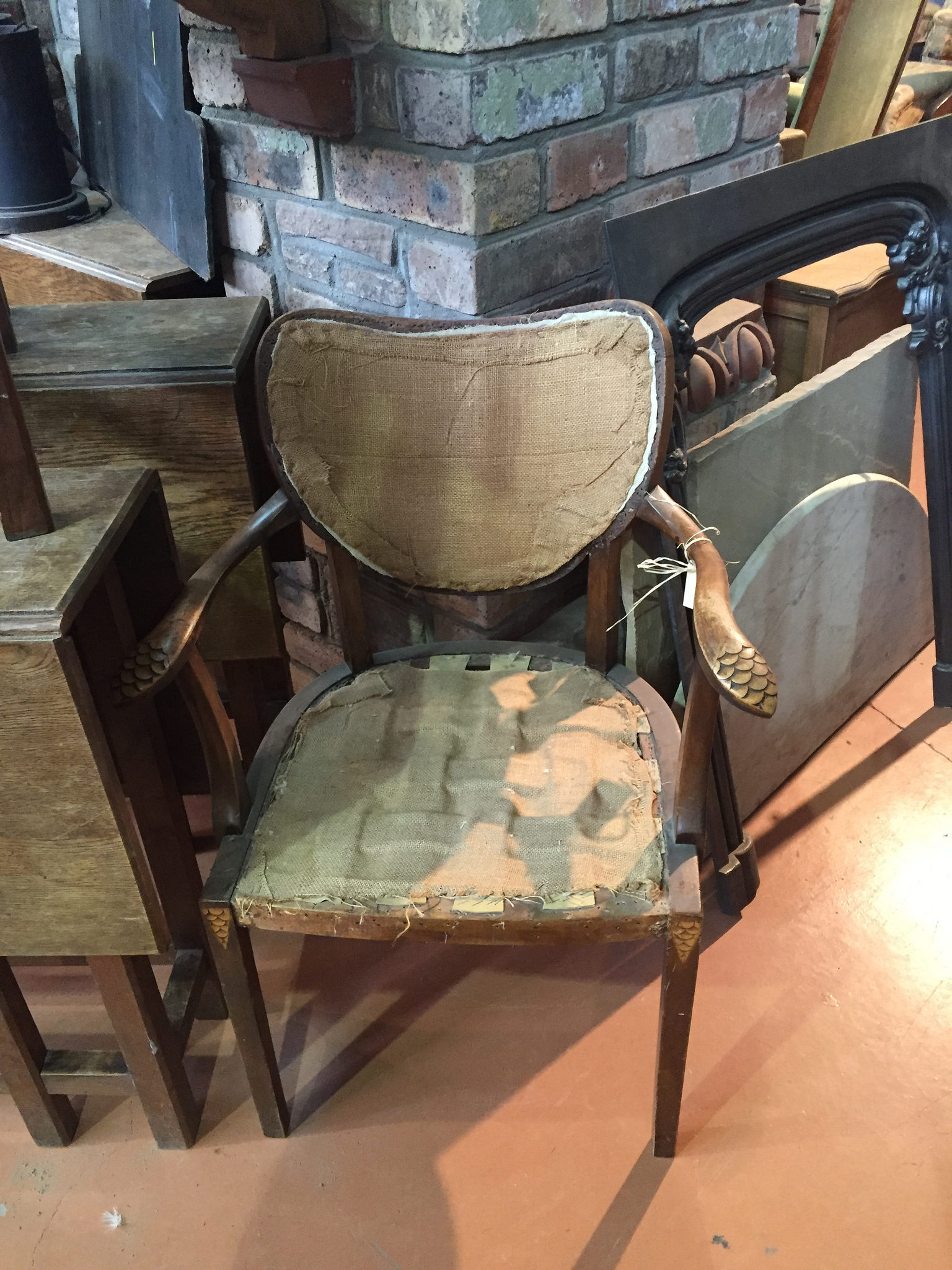 beautiful antique chair calling out to be recovered in a modern cut velvet