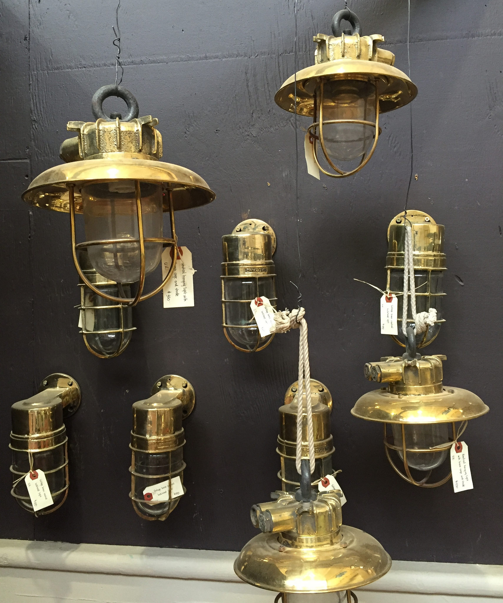 antique brass lights from Uniquities in Calgary