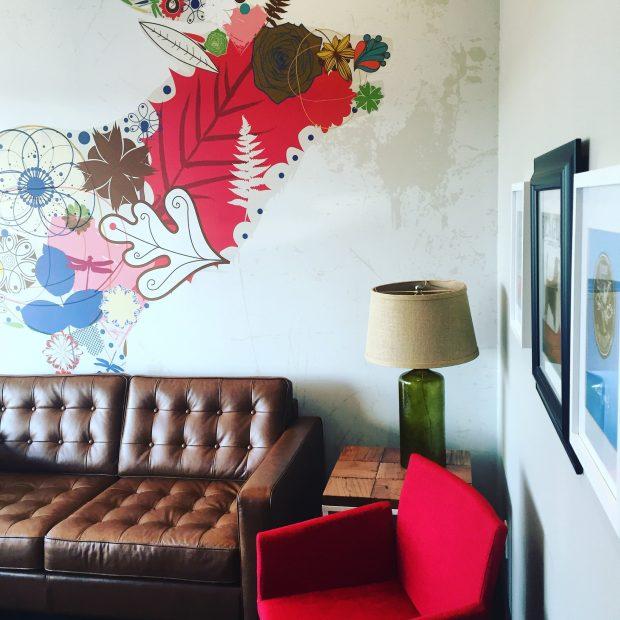 Elk wallpaper mural in dental waiting room really makes a statement - design by Karen Fron Interior Design