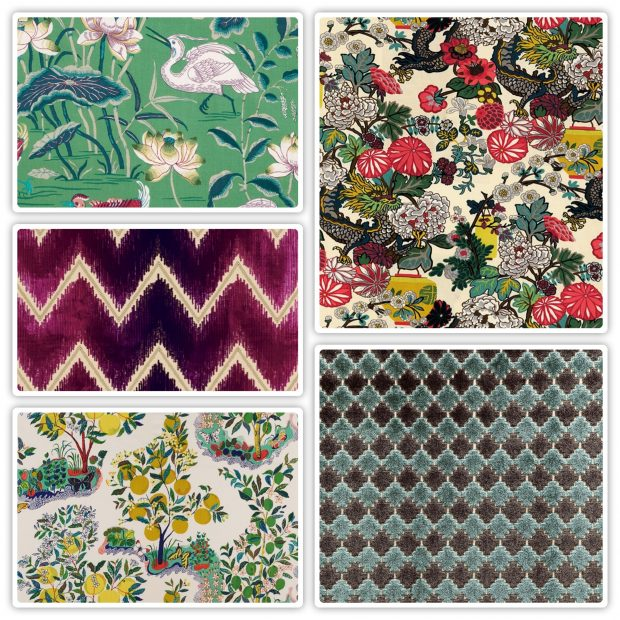 sampling of Schumacher fabrics