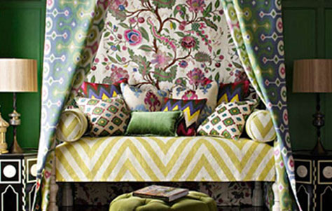 bedroom designed with Martyn Lawrence Bullard fabric Collection for Schumacher