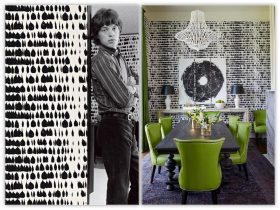 A young Mick Jagger Stand s in front of queen of spain Wallpaper (schumacher) in the 1960's and a recent dining room done in the same paper