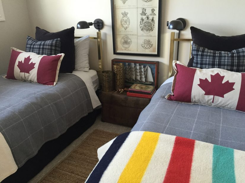 Twin brass beds with a few Canadian accents make a perfect guest room for when the grandsons come over.