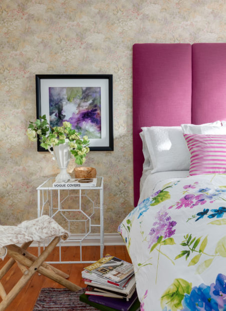 bright colours add just the right touch to offset the existing wallpaper