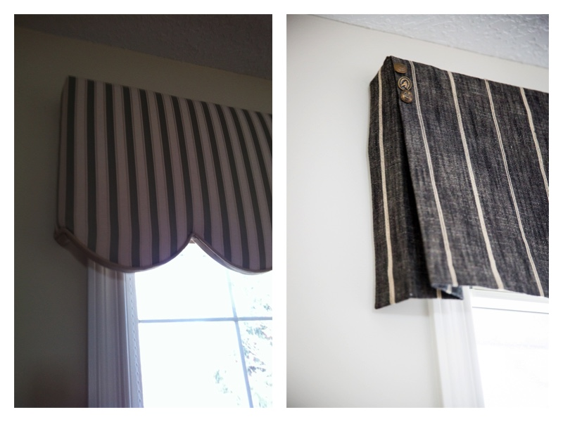 Before and after of a more current valance. Notice the button detailing.