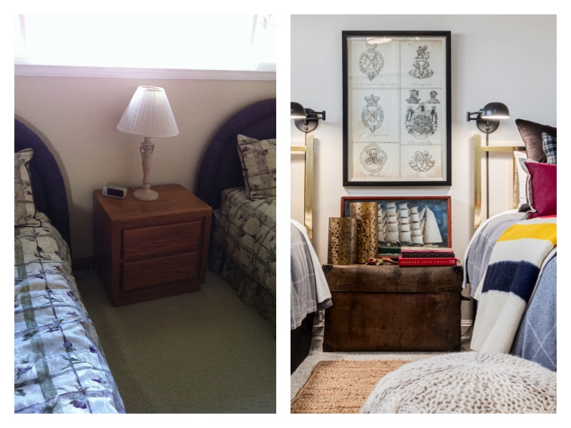 a before and after makeover of a twin bedroom - a few Canadian touches add patriotic charm