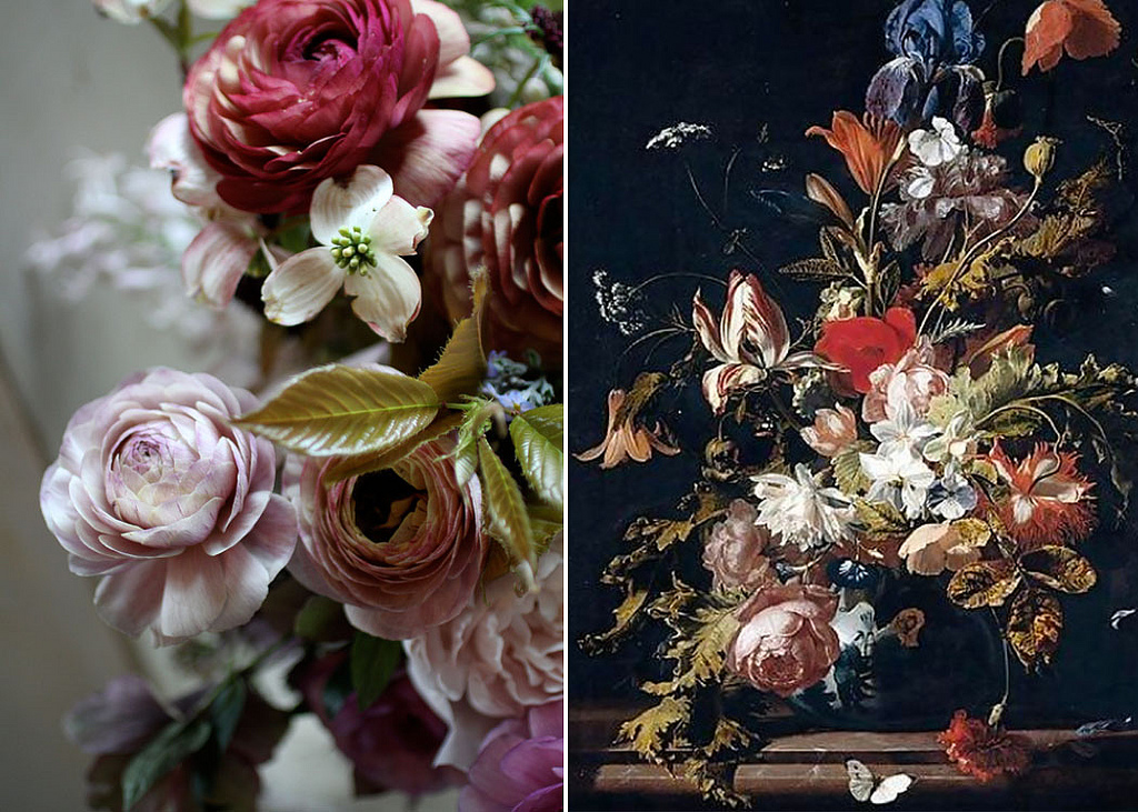 flower school teaches how to create large bold arrangements reminiscent of the Old Dutch Masters