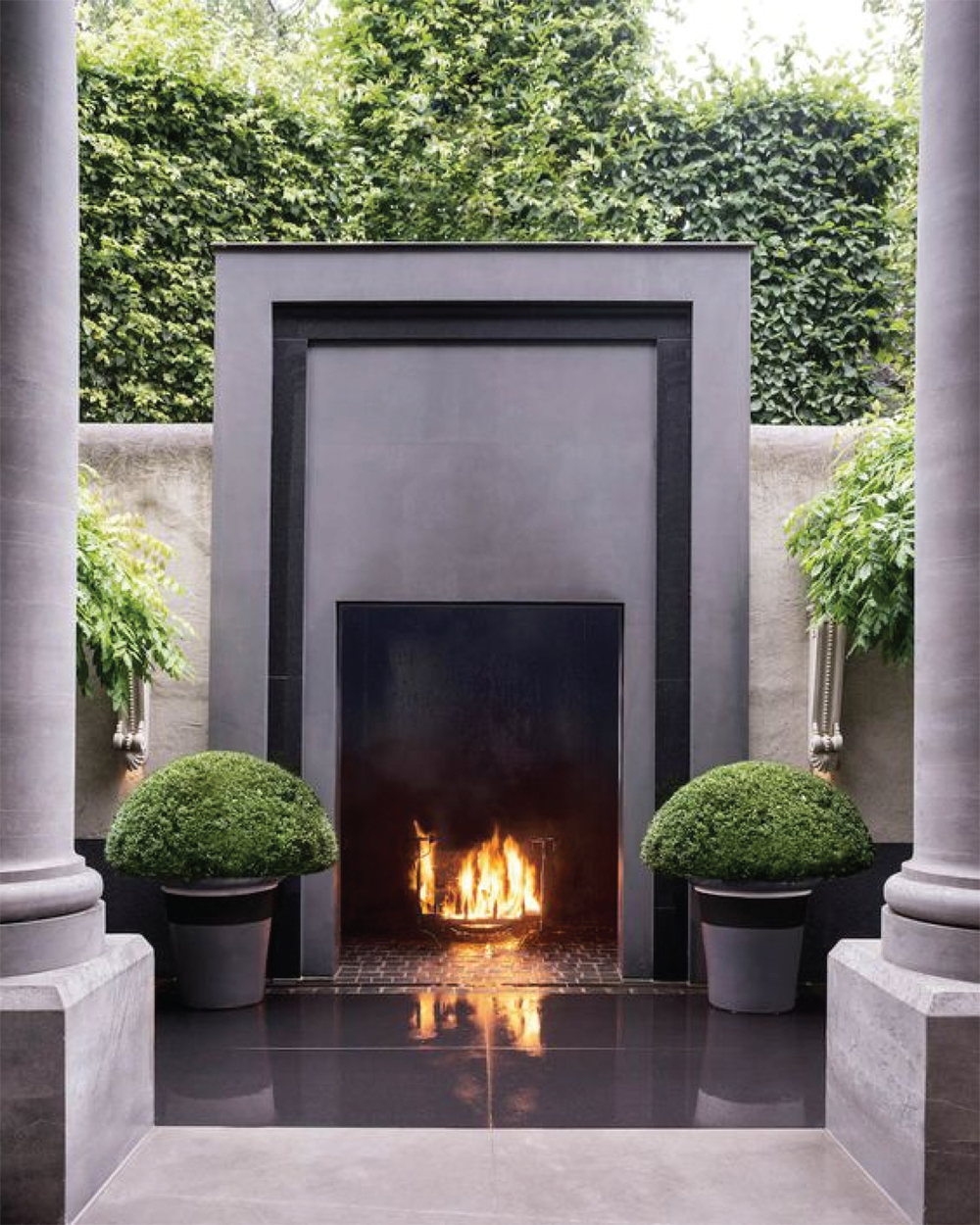 outdoor fireplace has perfect symmetry