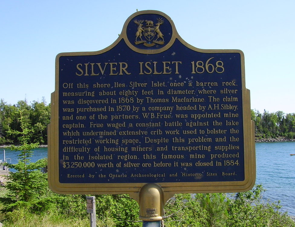 plaque at Silver Islet, Ontario