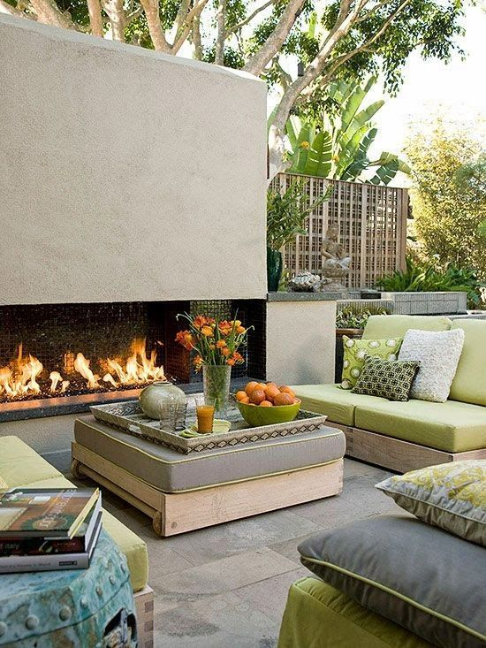 modern outdoor fireplace and living area