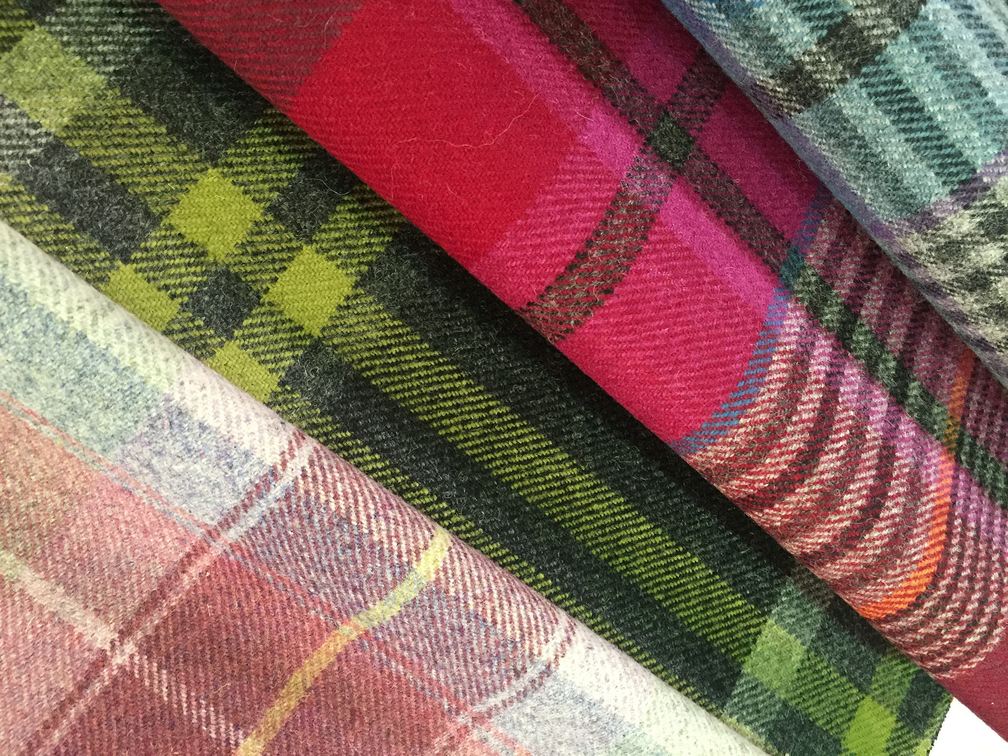 a selection of plaid fabrics from Stewart Drummond studios
