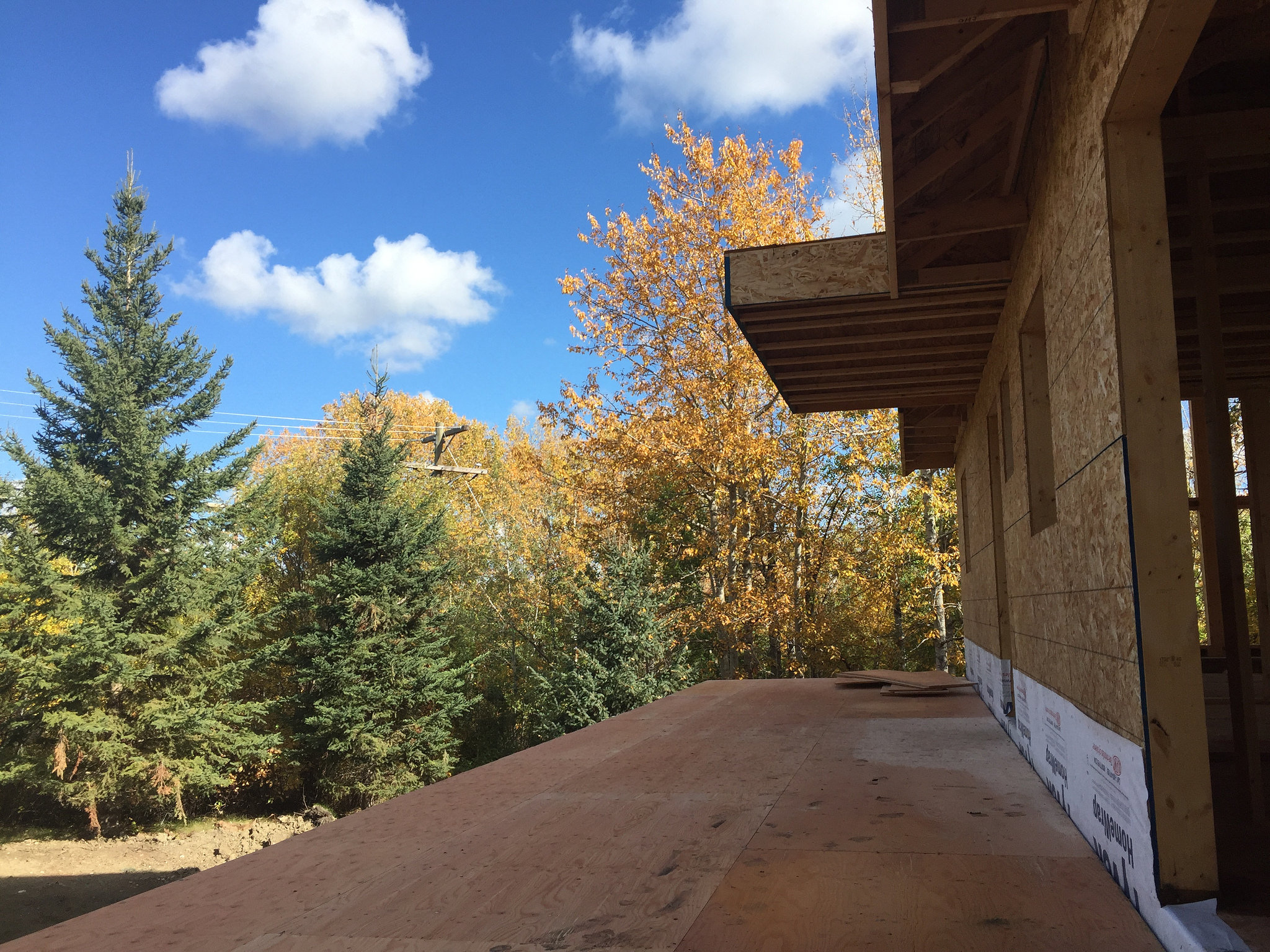 unfinished deck on a new build lake home with beautiful trees showing their autumn leaves