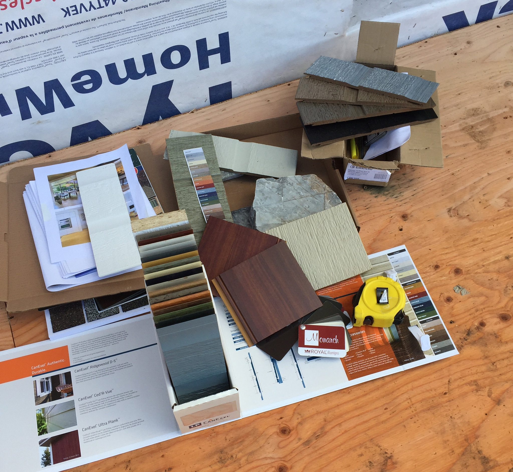 exterior selections for roof, soffit, fascia, and siding