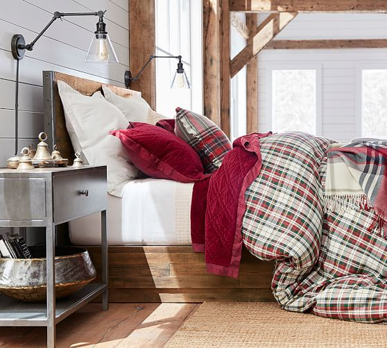 denver plaid bedding makes this bedroom cozy