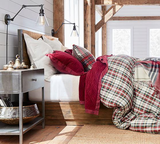 denver plaid bedding makes this bedroom cozy