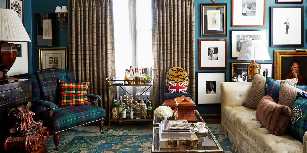A room decorated by the talented Scot Meacham Wood featuring tartans as appeared in House Beautiful