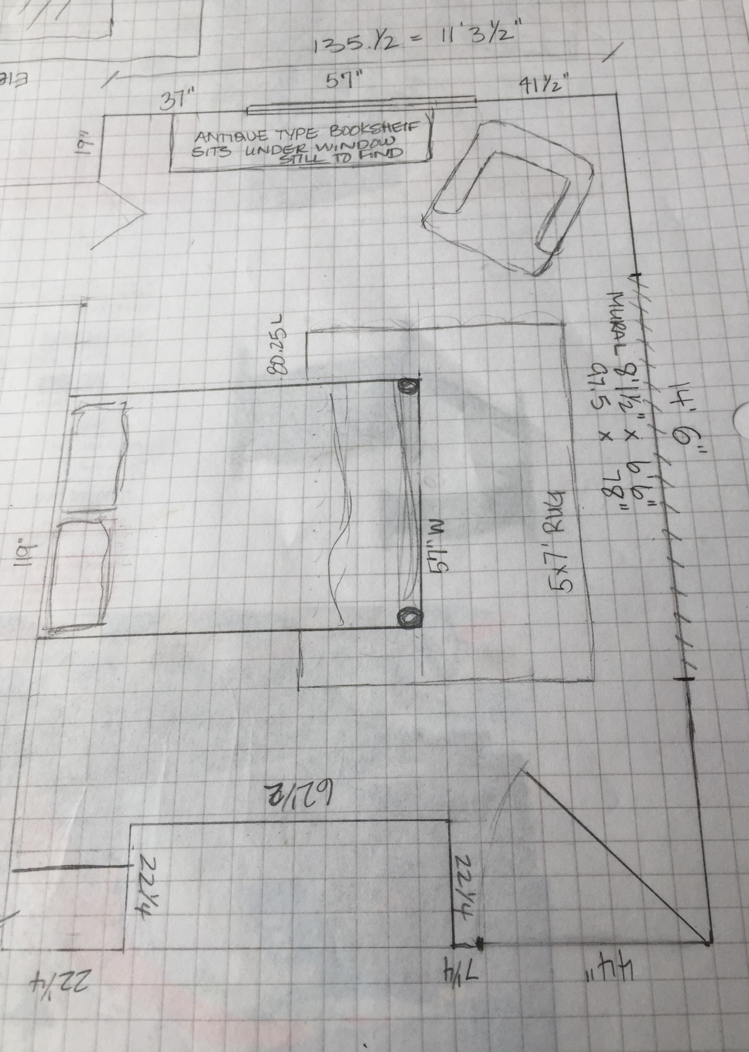 A Karen Fron Design hand drawn sketch of a client's bedroom with furniture layout.