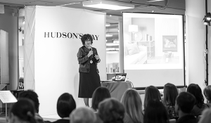 Interior design expert speaks at an event Hudson's Bay downtown Calgary