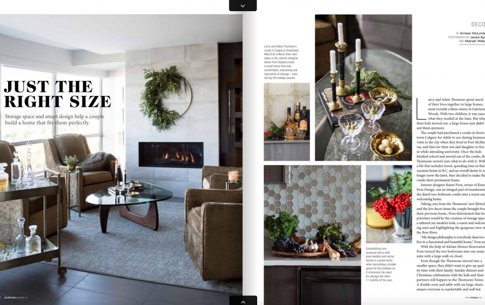 Just the Right Size - Article in Avenue Magazine Calgary about downsizing into a waterfront downtown condo.